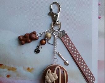 Bag / key two chocolates, Fimo macaroon