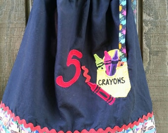 Crayon Pillowcase Dress-size 5t short
