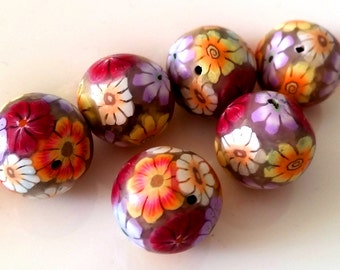 6 black round, polymer clay beads, Summerflowers, set of 6 beads