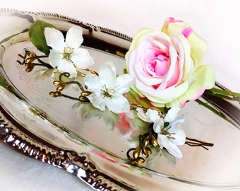 White Satin Blossom Flowers Clips, Gold Plated Bobby Pins, Wedding Flowers, Clip Flowers Set, Bridal Hair Accessories