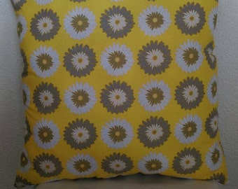 White and Grey Daisy Throw Pillow with Yellow Back