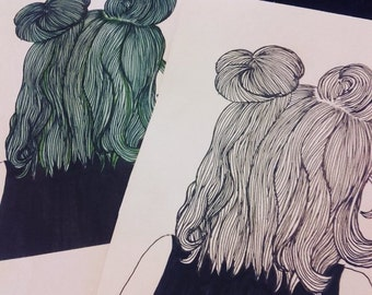 Rainbow multi-coloured space buns line drawings on A5 paper