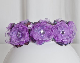 Dog Collar Angel's Couture Flower Power Violet
