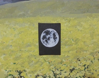 Small Detailed Full Moon Painting