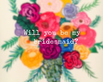 """Watercolor floral arrangement 2 inch """"Will you be my bridesmaid?"""" stickers"""