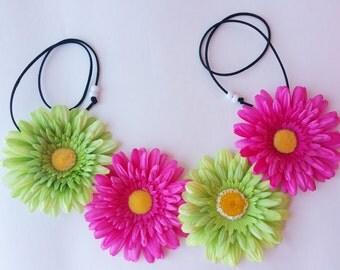 Pink and Green Flower Headband, EDC Headband, Flower Headband, Flower Child Headband