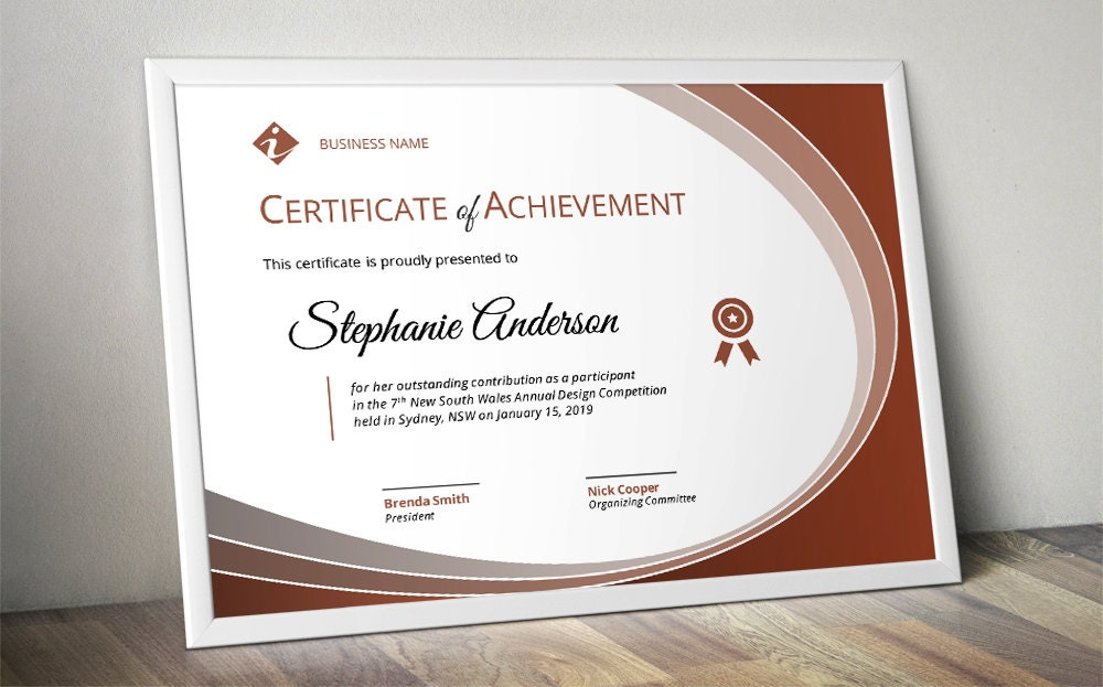 Modern Curve Corporate Business Certificate Template For MS