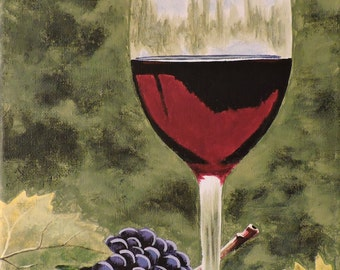 Red Wine and Grapes 8x10 Acrylic Painting