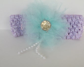 Baby Headband, Flower Headband, Handmade Headband, Toddler Headband, Photo Prop Headband, Baby Shower Gift, Purple Headband, Tulle Flower
