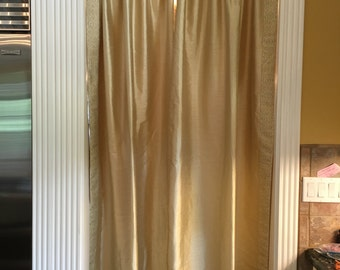 Pale Gold Silk Curtains with Trim