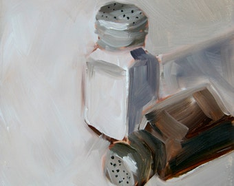 Salt and Pepper, Small Original Oil Painting on Gessobord, 6 x 6 Inches, by Merrill Weber, Small Painting, 6x6, Still Life Painting