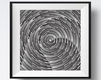 Black and White Spiral Lines, Circle Art, Spiral Lines Art, Spiral Print, Geometric Spiral, Black Spiral, Line Art, Black and White Lines