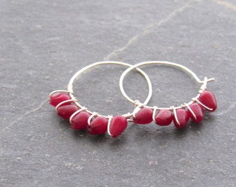 Ruby Hoop Earrings, Ruby Earrings,Small  Hoop Earrings, gemstone earrings, July birthstone earrings, gift for mom,gift women