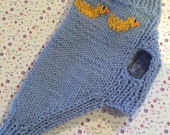 "puppy sweater ""Its a boy!"", hand knit"