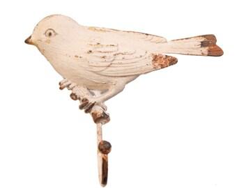 Vintage Bird Door Hook Wall Hanger Shabby Chic Antique Coat Hooks Cream
