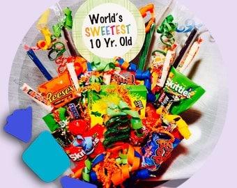 Candy Bouquet, Happy Birthday, Birthday Boy, Birthday Girl, 10th Birthday, Thinking of You, Get Well, Sympathy, Candy Table, Centerpiece