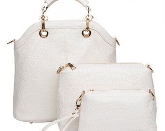 Women's Tote Bag With Crocodile Print