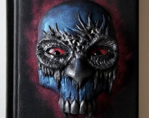Vampire skull, polymer clay journal, notebook, diary with polymer clay cover, 98 blank sheets
