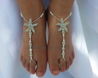 Kids Starfish Pearl Foot Jewelry Crystal Silver Bridal Barefoot Sandal Beach Wedding Bridal Foot Jewelry Baby Starfish Jewelry