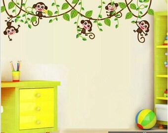 Monkey On Tree Removable Wall Decal Sticker Kids Baby Nursery Room Bedroom
