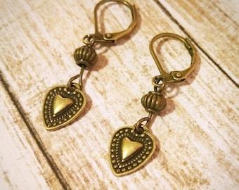 Heart Earrings / Boho Earrings / Vintage Earrings / Leverback Earrings / Bronze Earrings