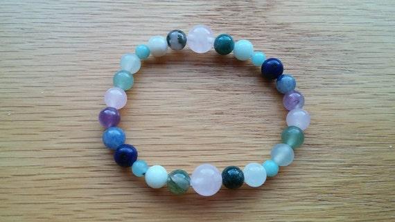 Pregnancy Bracelet. Amethyst, Amazonite, Blue Aventurine, Green Aventurine, Jade, Lapis Jasper, Moonstone, Moss Agate, Peridot, Rose Quartz.