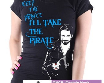 Once Upon A Time Captain Hook Keep the Prince Ladies T Shirt