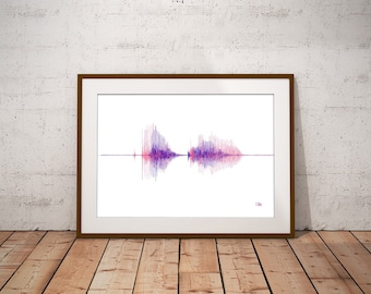 Personalized Soundwave Print - Sound Wave Poster - Personalised Voice Art - Song Music Heartbeat Voice Fathers Day Mothers Day New Baby Gift
