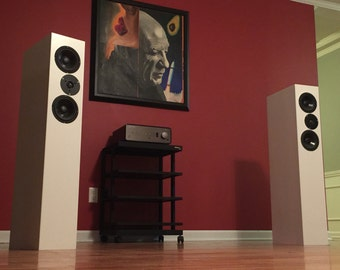 Hifi Home Audio Speaker System. Pair of High Fidelity Passive Stereo Floorstanding Speakers, made from MDF in the U.S.A. By Vehement Audio.