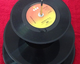 Vintage vinyl cake stand