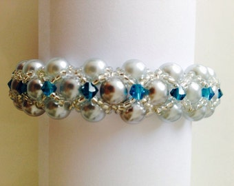 Hands Made  Montee Embellished Pearl Bracelet bicone seads beads