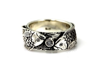 Fish ring,Koi ring,Fish silver ring,Sterling silver with White CZ,Silver with Black Oxidized.