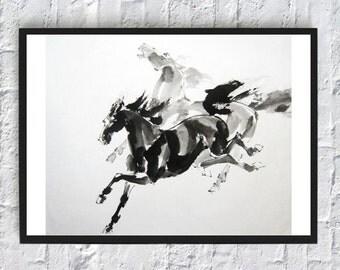 Watercolor horse, Horse print, horse art, horse decor, art print, digital print, wall art, black white, minimalist art, minimalist poster