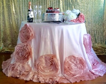 Blush Rosette Floral Tablecloth, Bluch Rose Tablecloth