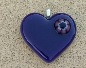Purple Fused Glass Jewelry Pendant Heart Flower