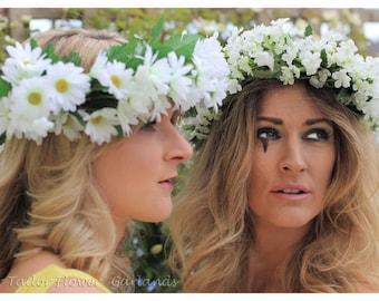 White Wildflower Flower Garland - Flower Crown - Woodland Hair - Circlet Hair Wreath