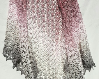 Large lacy Southbay Shawl in Pink and Grey