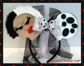Cruella DeVille 101 Dalmations Disney Inspired Not so Scary Halloween Villain Mickey Minnie Ears