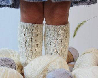 Knit leg warmers for girls / White Girls' Legwarmers