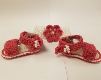Pink and White Crochet Bootie and Head Band Set