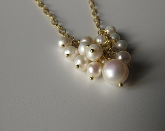 Diana Pearl Necklace - freshwater pearl necklace, chunky necklace, chanel inspired necklace, pearl cluster necklace, gold chain necklace