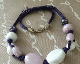 Ceramic multi row necklace