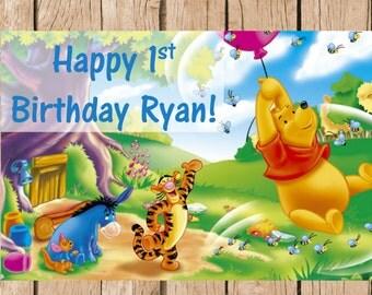 Winnie the Pooh Birthday Vinyl Banner