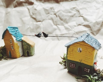 Tiny little houses with birds gift idea for friends, miniatures handmade always