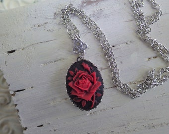 Black and Red ~ Rose Cameo ~ Necklace Pendant ~ Silver Black Red ~ by WakestheDawn