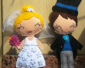 Bride and groom felt