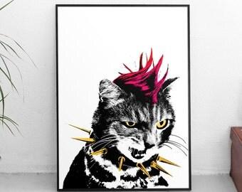 Sheena is a Punk Rocker Cat Poster