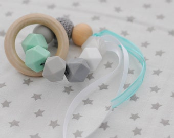 Mint and grey eco baby teether ring- BPA free silicone, untreated wood and crochet