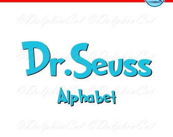 Dr.Seuss Alphabet, blue letters, digital picture for make logo and text, cutting, scrapbooking, svg, dxf, eps vector, printable studio files