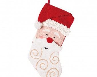 "Christmas Hooked Stocking  3D Santa 19.7""H"